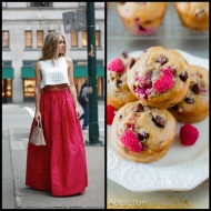 tasteful fashion: raspberry choc. banana muffins